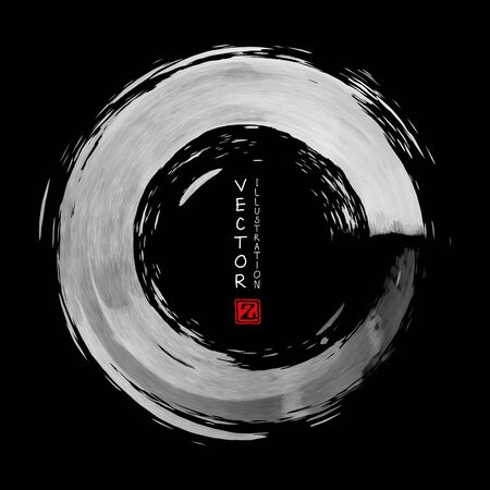 White ink round stroke on black background. Japanese style. Vector illustration of grunge circle stains Illustration