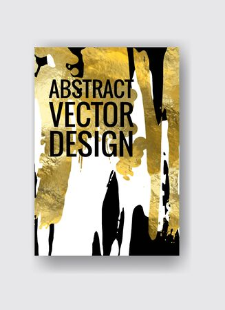 Vector Black, white and Gold Design Template for Brochures, Flyers, Mobile Technologies, Applications, Online Services, Typographic Emblems, Logo, Banners. Golden Abstract Modern Background