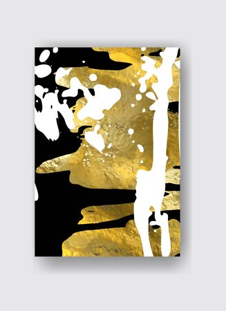 Vector Black, white and Gold Design Template for Brochures, Flyers, Mobile Technologies, Applications, Online Services, Typographic Emblems, Banners. Golden Abstract Modern Background