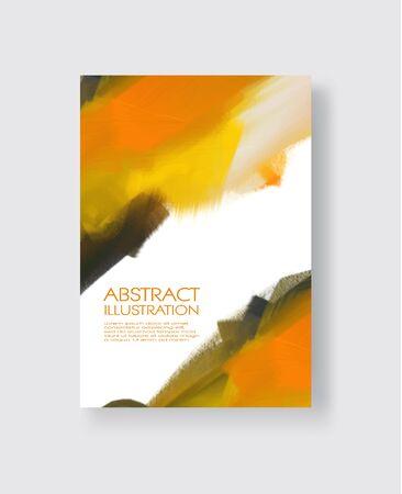 Elegant template design with orange, gold, yellow, black ink brush elements. Abstract decoration. Vector illustration. Çizim