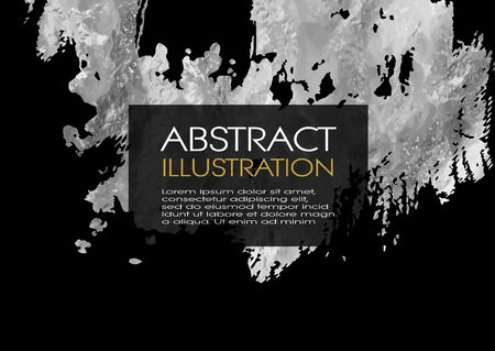 Vector Black and Silver Design Templates for Brochures, Flyers, Mobile Technologies, Applications, Online Services, Typographic Emblems,  Banners and Infographic. Golden Abstract Modern Background. Çizim
