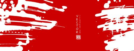 White ink brush stroke on red background. Japanese style. Vector illustration of grunge stains