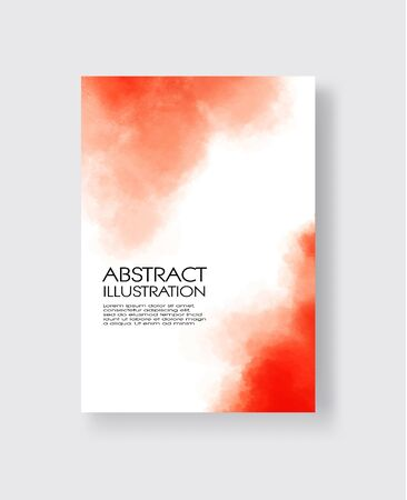Bright red textures, abstract hand painted watercolor banner, greeting card or invitation templates, vector illustration. Çizim