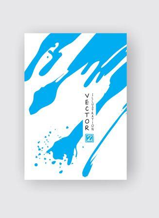 Blue ink brush stroke on white background. Japanese style. Vector illustration of grunge stains Çizim
