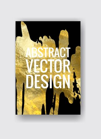 Vector Black and Gold Design Template for Brochures, Flyers, Mobile Technologies, Applications, Online Services, Typographic Emblems, Banners. Golden Abstract Modern Background Çizim