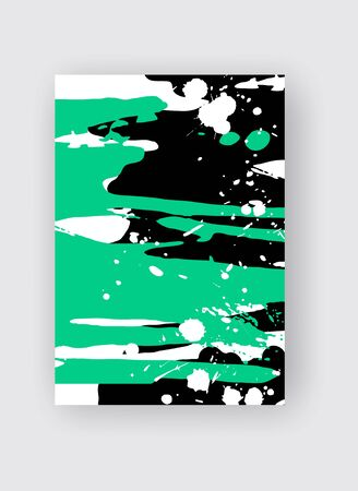 Cool vector bright poster with abstract colorful elements. Poster, brochure, banner or flyer template design. Çizim