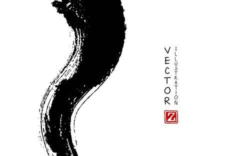 Abstract ink brush stroke on horizontal background. Japanese style. Vector illustration of grunge elements.
