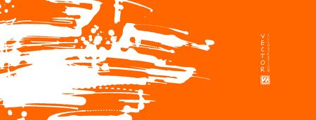 White ink brush stroke on orange background. Japanese style. Vector illustration of grunge stains