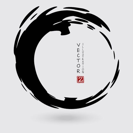 Forme d'encre de vecteur. Élément de cercle. Coup de pinceau rond. Icône, logo, conception de bannière. Logo