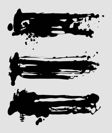 Abstract vector ink brush strokes set. Grunge design elements.