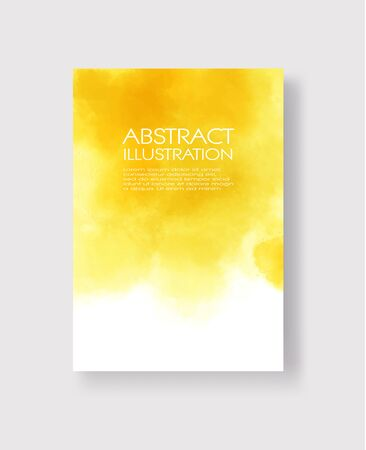 Bright yellow textures, abstract hand painted watercolor banner, greeting card or invitation templates, vector illustration.