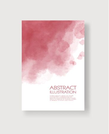 Bright red textures, abstract hand painted watercolor banner, greeting card or invitation templates, vector illustration.