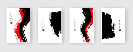 Black and red abstract design set. Ink paint on brochure, Monochrome element isolated on white. Grunge banner paints. Simple composition. Liquid ink. Background for banner, card, poster, identity,web design.