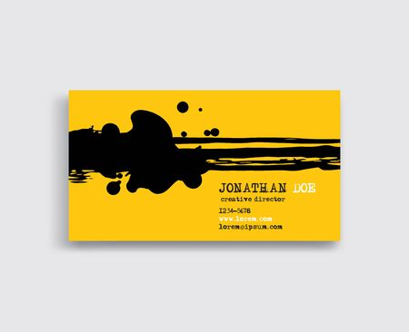Creative business card templates with minimalistic ink design. Abstract black yellow ink brush strokes. Vector Illustration.
