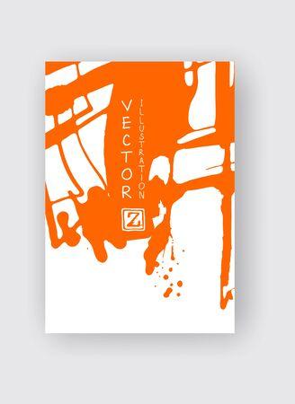 Orange ink brush stroke on white background. Japanese style. Vector illustration of grunge stains 版權商用圖片 - 137776049