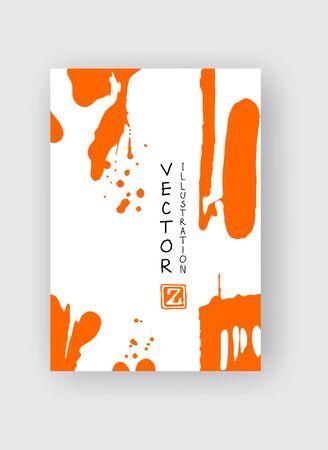 Orange ink brush stroke on white background. Japanese style. Vector illustration of grunge stains 版權商用圖片 - 137775806