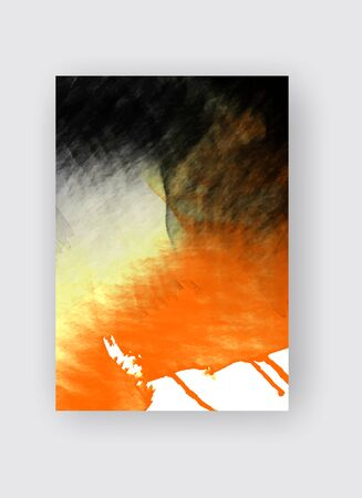Orange and black ink brush stroke on white background. Japanese style. Vector illustration of grunge stains