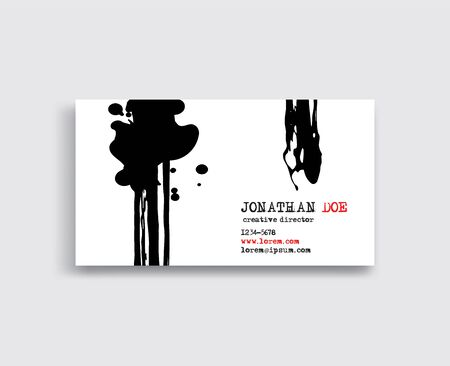 Creative business card templates with minimalistic ink design. Abstract black white ink brush strokes. Vector Illustration.