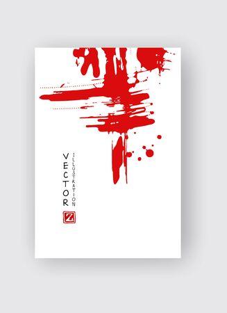 Red ink brush stroke on white background. Japanese style. Vector illustration of grunge stains Ilustração Vetorial