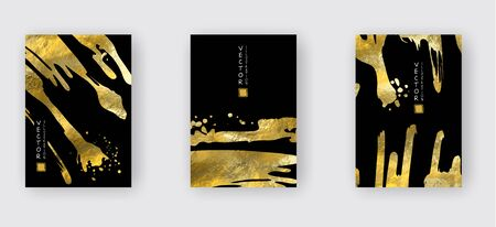 Vector Black and Gold Design Templates set for Brochures, Flyers, Mobile Technologies, Applications, Online Services, Typographic Emblems, Banners. Golden Abstract Modern Backgro Banque d'images - 138240484