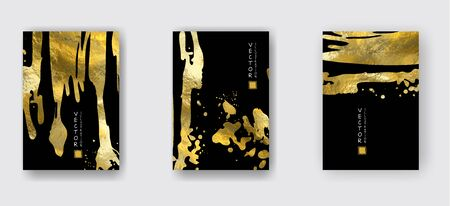Vector Black and Gold Design Templates set for Brochures, Flyers, Mobile Technologies, Applications, Online Services, Typographic Emblems, Banners. Golden Abstract Modern Backgro Banque d'images - 138240486