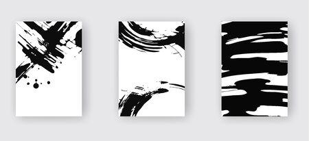 Zestaw czarny streszczenie. Farba atramentowa na broszurze, element monochromatyczny na białym tle. Farby transparent grunge. Prosta kompozycja. Atrament w płynie. Tło dla banera, karty, plakatu, tożsamości, projektowania stron internetowych.