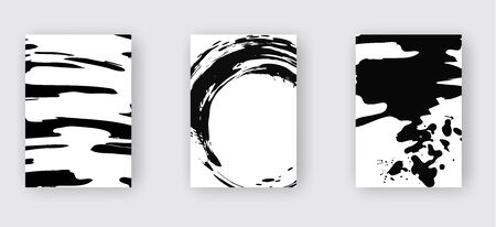 Black abstract design set. Ink paint on brochure, Monochrome element isolated on white. Grunge banner paints. Simple composition. Liquid ink. Background for banner, card, poster, identity,web design. Ilustracje wektorowe