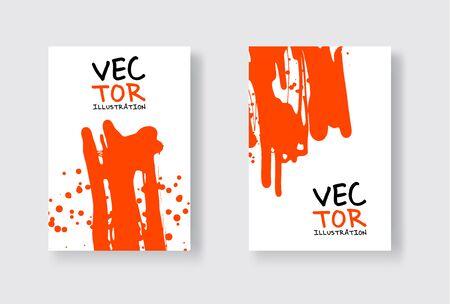 red ink brush stroke on white background. Japanese style. Vector illustration of grunge wave stains.Vector brushes illustration.