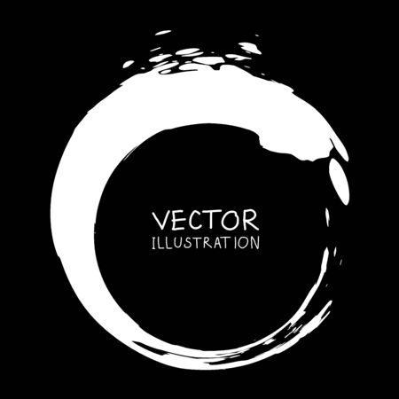Vector ink shape. Circle element. Round brush stroke. Icon, Banner design. Banque d'images - 138342067