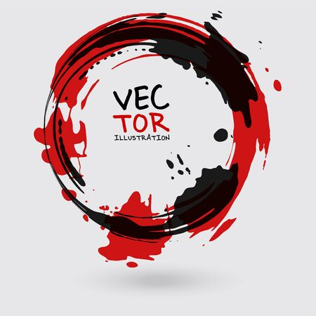Vector ink shape. Circle element. Round brush stroke. Icon, Banner design. Banque d'images - 138342079