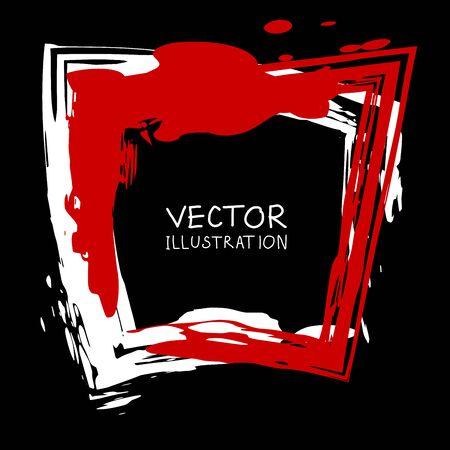 Vector ink shape. Square element. Rectangle brush stroke. Icon, Banner design. Banque d'images - 138342082