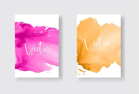 Set of bright colorful vector gold coral watercolor background. Abstract illustration Banque d'images - 138342251