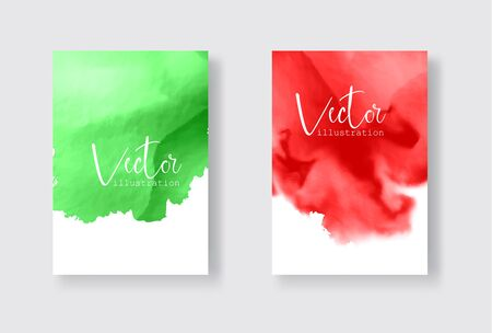 Set of bright colorful vector green red watercolor background. Abstract illustration Banque d'images - 138342253