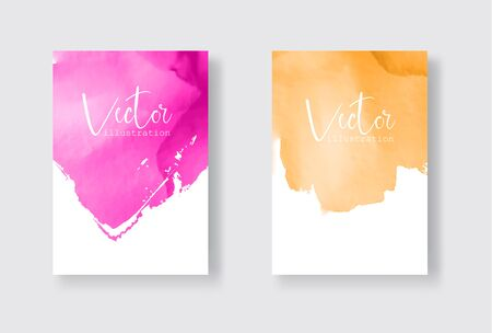 Set of bright colorful vector gold coral watercolor background. Abstract illustration Banque d'images - 138342256
