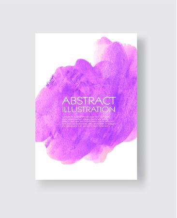 Vector card with watercolor blot. Abstract cards with hand drawn blots on white background for your design. Banque d'images - 138342255