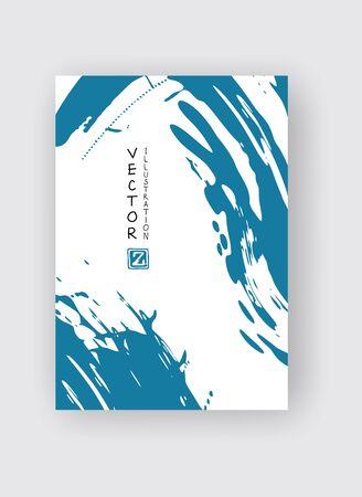 Pinselstrich mit blauer Tinte auf weißem Hintergrund. Japanischer Stil. Vektor-Illustration von Grunge-Flecken Vektorgrafik