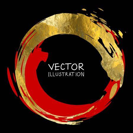 Round golden frame on a black background. Luxury vintage border, Label, logo design element. Hand drawn vector Illustration. Abstract gold brush