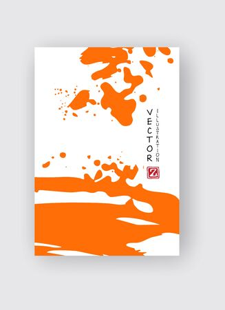 Orange ink brush stroke on white background. Japanese style. Vector illustration of grunge stains