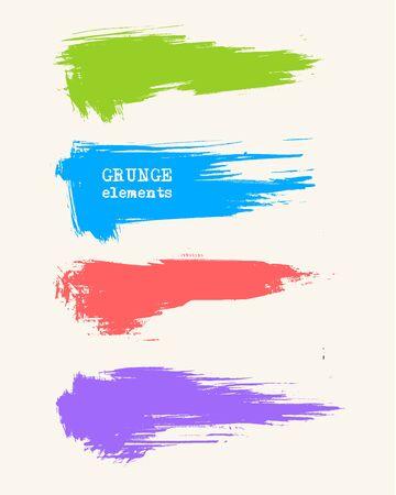 Vector set of grunge brush strokes. Grige abstract design elements. Vector illustration.