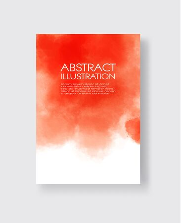 Bright red textures, abstract hand painted watercolor banner, greeting card or invitation templates, vector illustration. Illusztráció