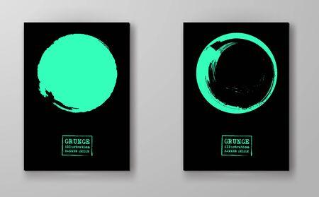 Abstract big color grunge circle on black background set. Brochure, banner, poster design. Sealed with decorative red stamp. Stylized symbol of Japan. Vector illustration.
