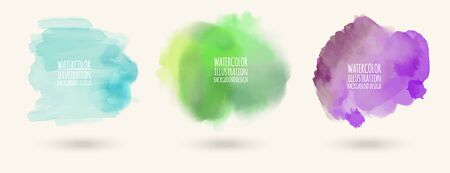 Hand painted watercolor elements set, abstract watercolor background, vector illustration