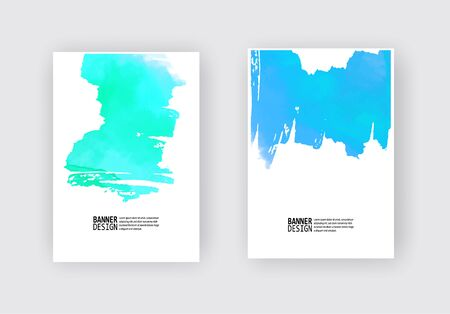 Elegant brochure template design with ink brush elements. Abstract decoration. Vector illustration.