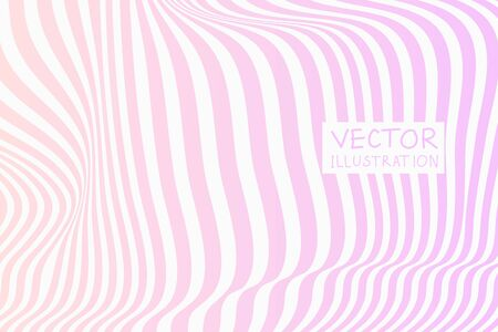 Design pink waving lines illusion background. Abstract stripe distortion backdrop. Zebra style decoration. Wallpaper with empty space for your text. Vector illustration