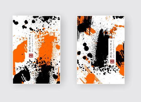 Black orange ink brush stroke on white background. Japanese style. Vector illustration of grunge splatter stains.Vector brushes illustration.