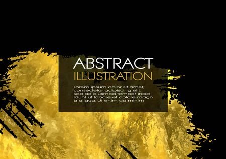 Vector Black and Gold Design Templates for Brochures, Flyers, Mobile Technologies, Applications, Online Services, Typographic Emblems, , Banners and Infographic. Golden Abstract Modern Background.