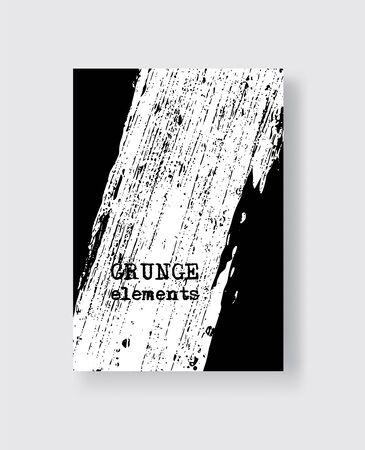 White grunge brush stroke on black background. Minimalistic style. Vector illustration of grunge element stains. Vector brushes illustration. Ilustração