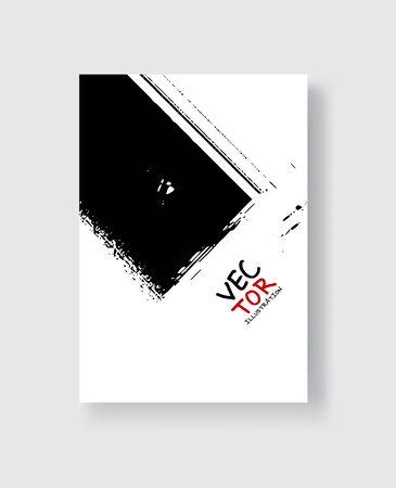 Black ink brush stroke on white background. Minimalistic style. Vector illustration of grunge element stains.Vector brushes illustration.