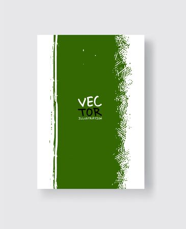 Green ink brush stroke on white background. Minimalistic style. Vector illustration of grunge element stains.Vector brushes illustration. Ilustração