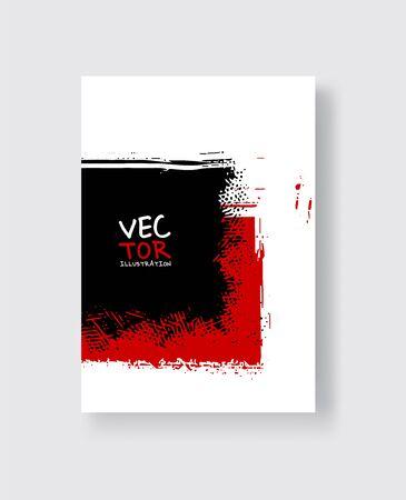Black red ink brush stroke on white background. Minimalistic style. Vector illustration of grunge element stains.Vector brushes illustration.